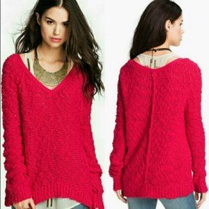 Free People Pink Boucle V-Neck Songbird Sweater